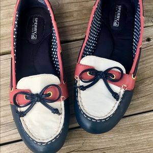 Sperry loafers Leather Blue, Red And White slip-on